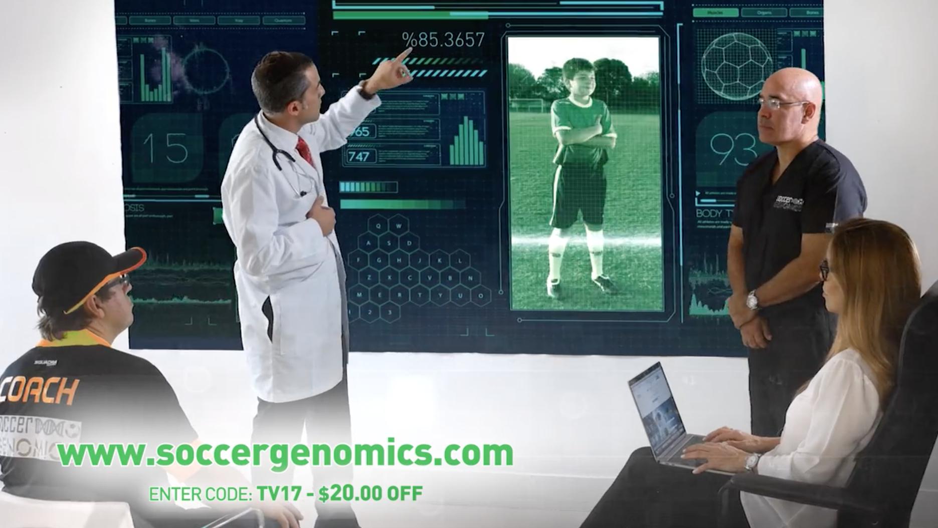 Реклама одного из псевдонаучных генетических тестов, обещающих оценить способности кфутболу ипомочь развить их.