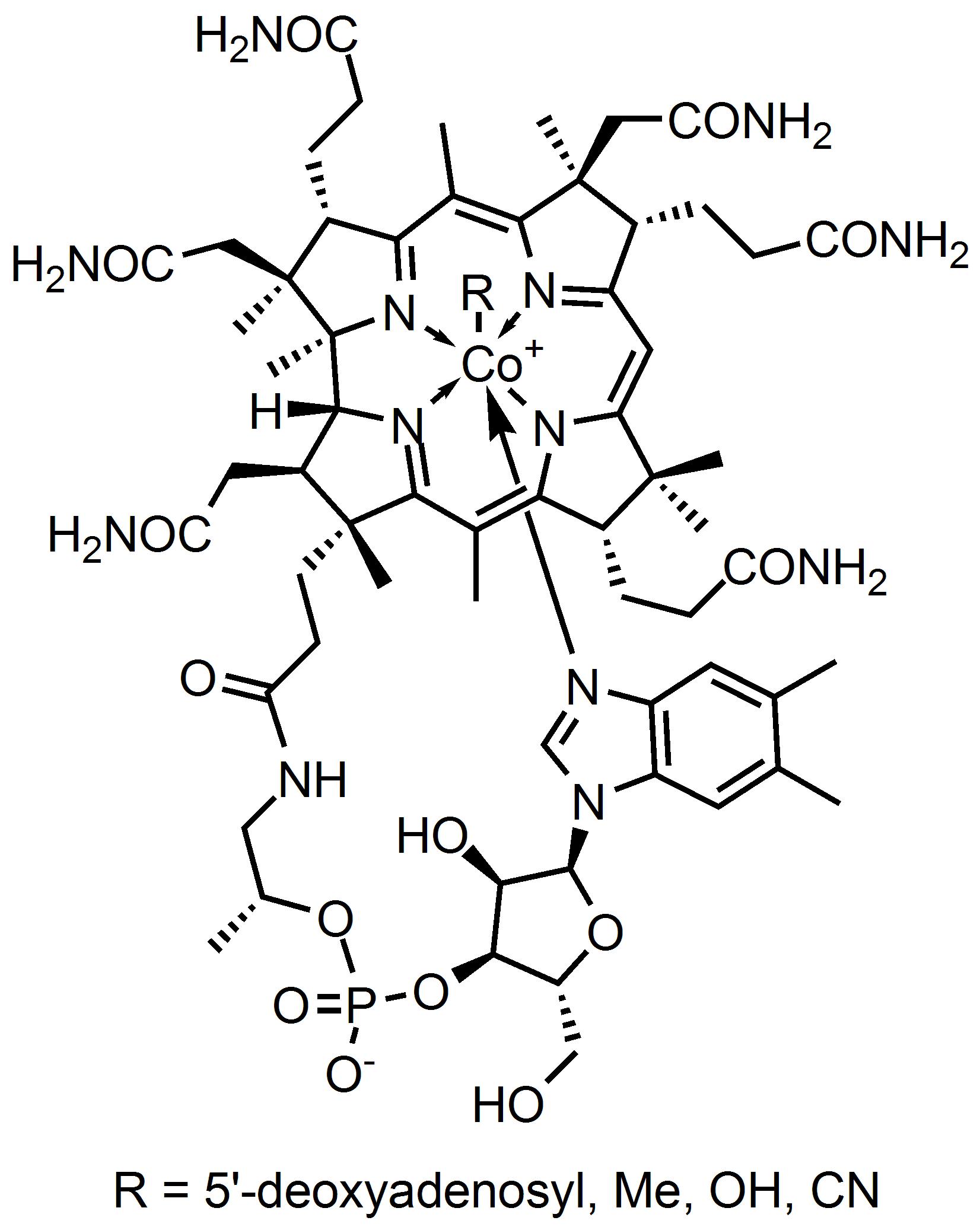 Молекула витамина B<sub>12</sub>.