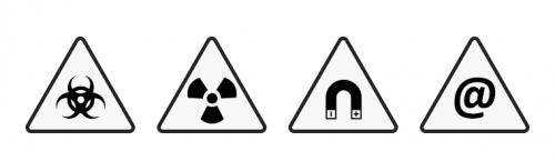 Рис. 1. Символы опасности слева направо: биоопасность, радиация, магнитное поле иящик сИИ