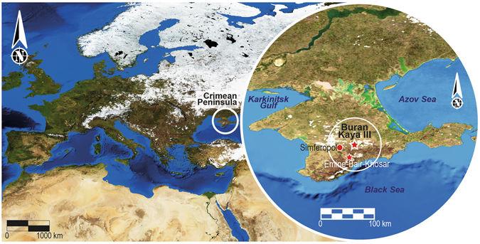 Карта Европы суказанием местонахождений Буран Кая III иЭмине-Баир-Хосар (Мамонтовая пещера) вКрыму