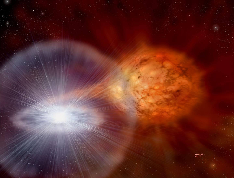 Двойная звёздная система из белого карлика извезды-компаньона. Из систем, подобных этой, рождаются новые звёзды.