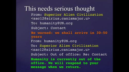 «Человечества сейчас нет наместе. Мы ответим наваше сообщение, когда вернёмся»