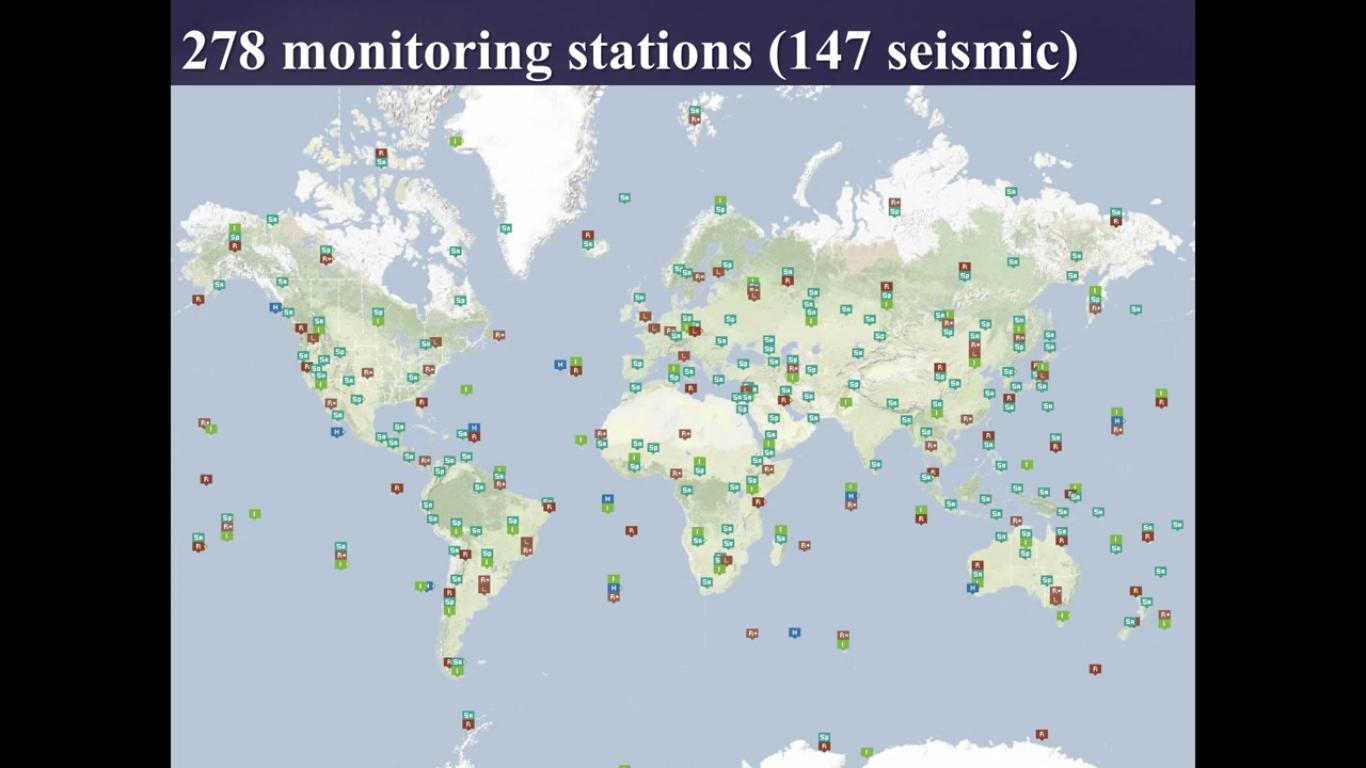 Станции, используемые для мониторинга ядерных испытаний (большинство из них сейсмические)