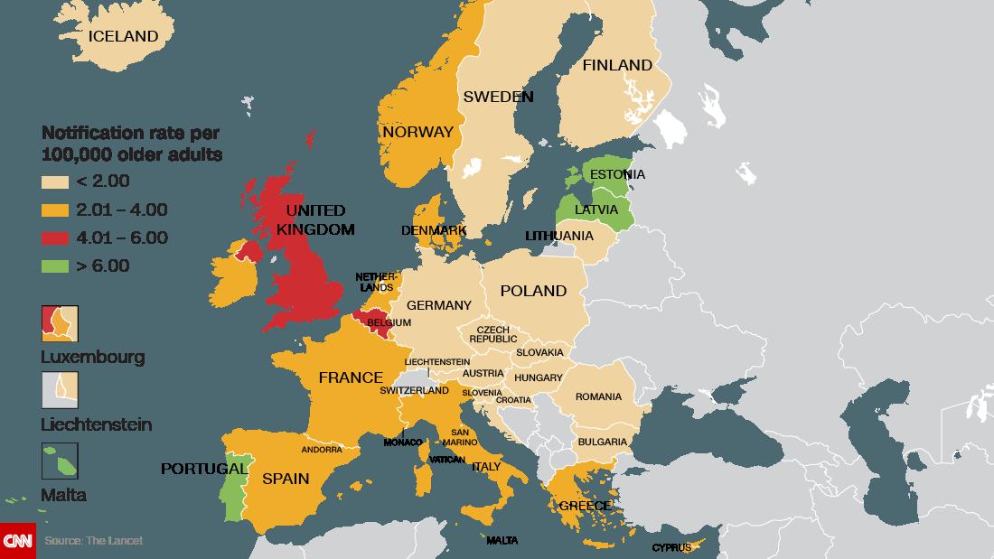 Своеобразный «рекорд» установили Эстония, Латвия иМальта— вэтих странах заболеваемость ввозрастной группе «старше 50» превысила рубеж «7 случаев на100 тыс. человек».