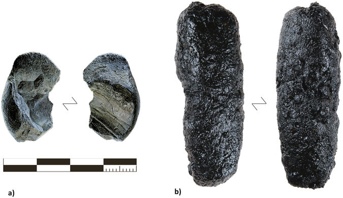 а) Наибольший кусок смолы, найденный нанеандертальской стоянке Кёнигзауэ (Германия); b) Наибольший кусок смолы, полученный методом «выпуклой конструкции».