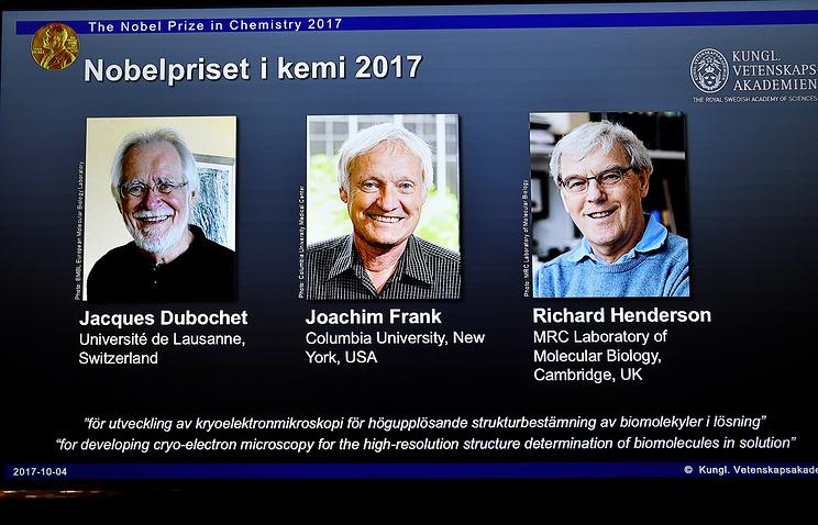 Лауреаты Нобелевской премии по химии Жак Дюбоше, Иоахим Франк иРичард Хендерсон