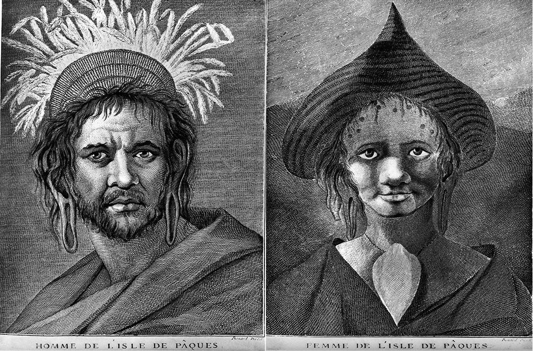 Так выглядели рапануйцы (мужчина иженщина) в1777 году. Рисунок Уильяма Ходжеса, одного из художников, сопровождавших Джеймса Кука вего втором кругосветном плавании.