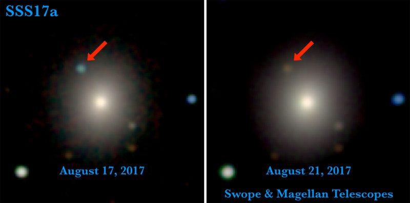 Затухание вспышки от столкновения двух нейтронных звезд в130 световых годах от Земли