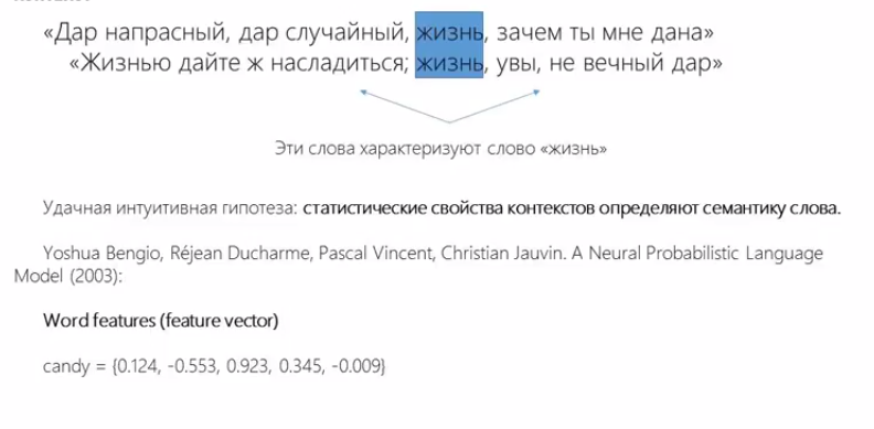 Так, наоснове контекстов, работает word2vec