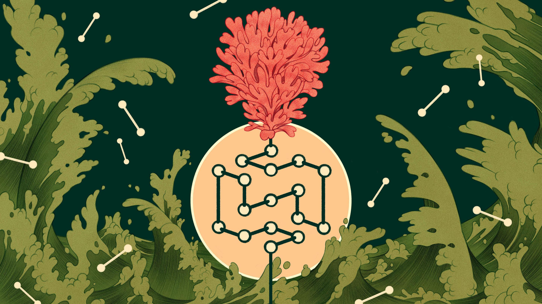 Чтобы выяснить, как случайные химические реакции наранней Земле привели кобразованию длинных молекулярных цепочек, способных ксамовоспроизводству исоздающих основу для появления клеточной жизни, учёные используют компьютерное моделирование. / Рисунок Rachel Suggs.