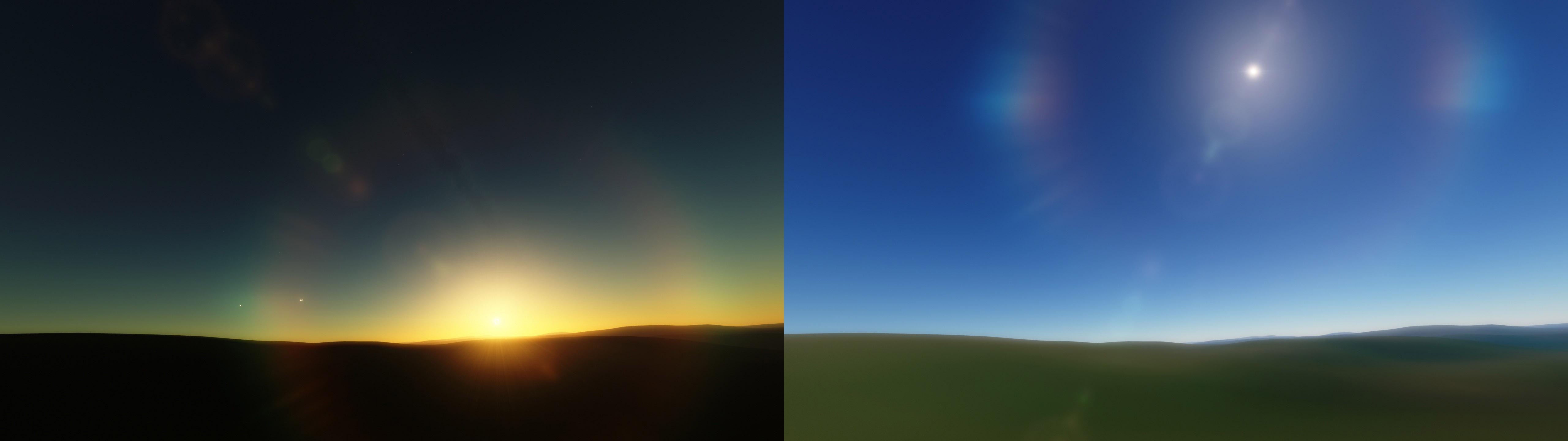 Где-то насевере Норвегии солнце вполдень летом выглядит примерно, как налевой картинке, азимой— как направой