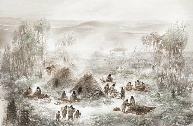 Таким, возможно, было поселение уреки Восходящего Солнца. Иллюстрация: ERIC S. CARLSON IN COLLABORATION WITH BEN A. POTTER.