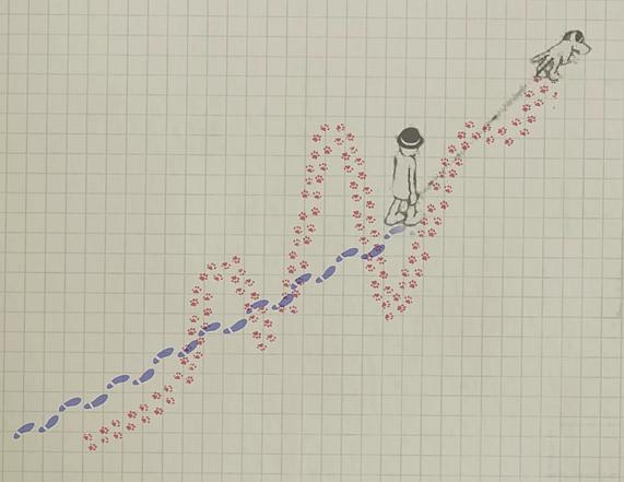Рисунок 2. Кадр из видеоиллюстрации соотношения погоды (собака) иклимата (человек) во время прогулки (изменений климата)
