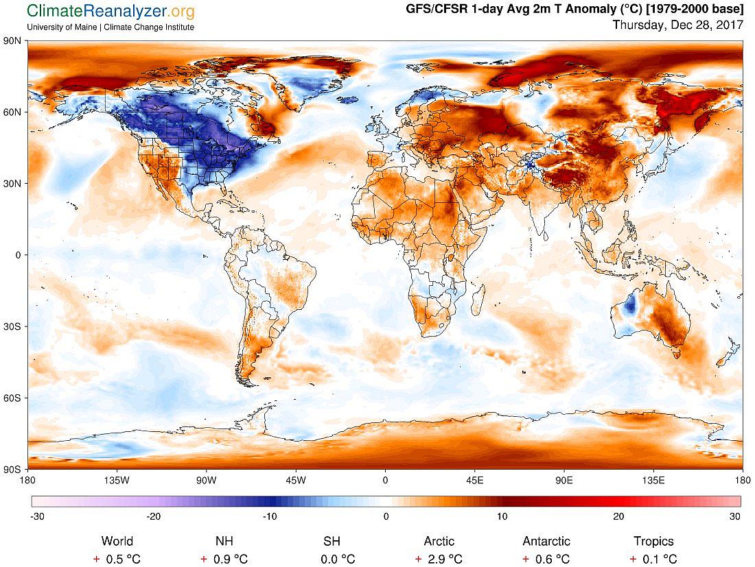 Рисунок 3. Аномалии погоды (температура воздуха) по данным CSFR-системы усвоения данных наконец декабря 2017 года