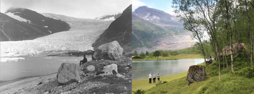 Рисунок 7. Энгабреен— ледник всеверной Норвегии (Му-и-Рана). Фотографии сделаны содной точки в1889 и2010 годах