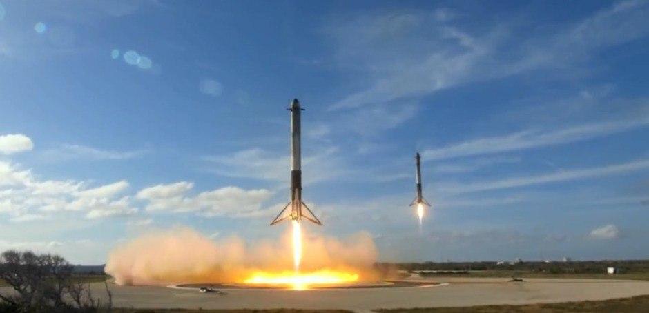 Посадка боковых ускорителей Falcon Heavy