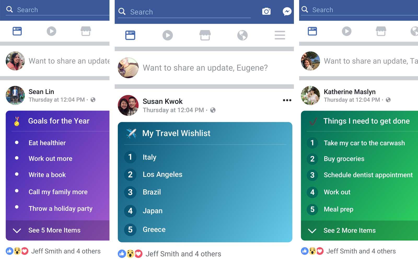 «Фейсбук» добавил новую функцию— «Списки». Привнесёт ли это «осмысленное взаимодействие», как надеется Цукерберг, неизвестно, но по крайней мере, можно будет вишлисты (<em>от англ.</em> wishlist— список пожеланий) составлять.
