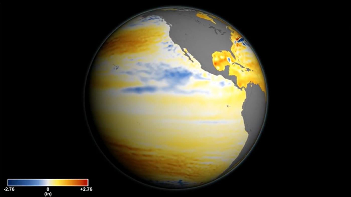 Повышение уровня моря. Жёлтым иоранжевым цветом обозначены участки, где уровень моря повысился, голубым исиним— те, где он остался прежним или снизился. Источник: NASA.