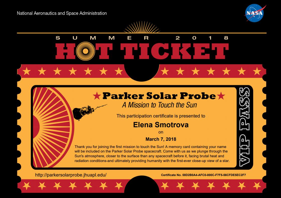 """Документ участника новой солнечной миссии <abbr lang=""""ru"""" title=""""NASA— Национальное управление по воздухоплаванию иисследованию космического пространства США"""">НАСА</abbr> оформлен как билет VIP-пассажира."""