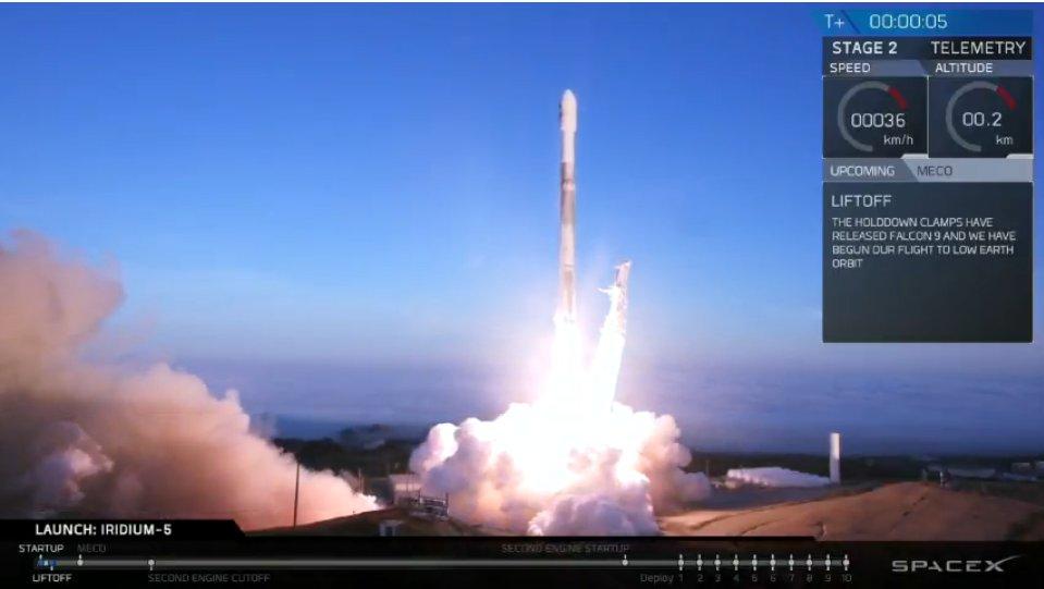 Запуск <i>Falcon 9</i>, миссия <i>Iridium 5</i>. || Фото из <i>Twitter</i> <i>SpaceX</i>.
