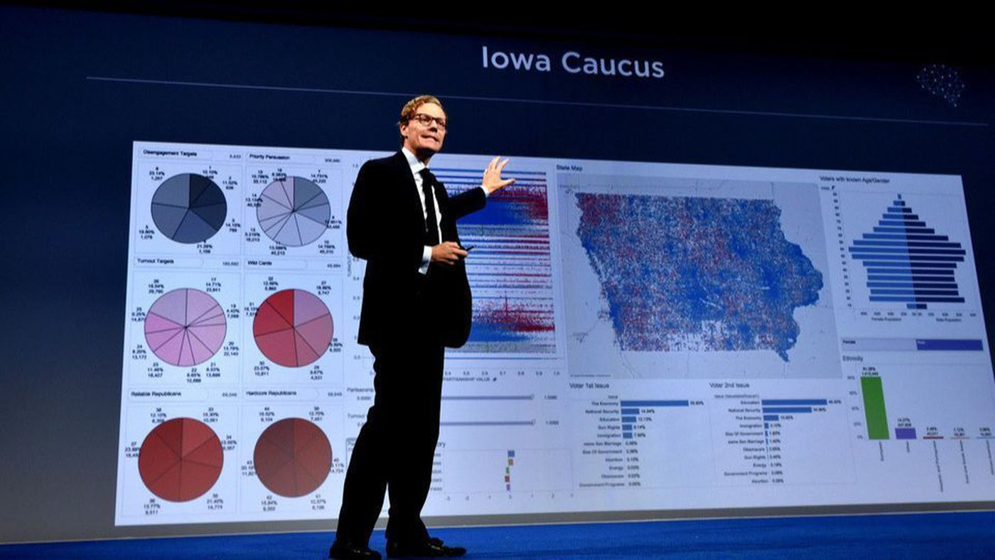 Руководитель компании <i>Cambridge Analytica</i> Александр Никс  (Alexander Nix) выступает на саммите в 2016 г.