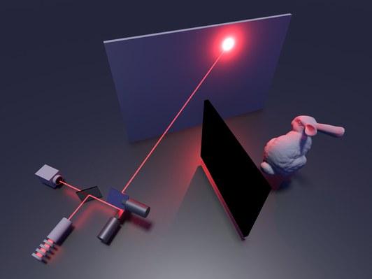 Схематическое изображение экспериментальной установки, позволяющей при помощи лазера обнаружить скрытого за стенкой кролика
