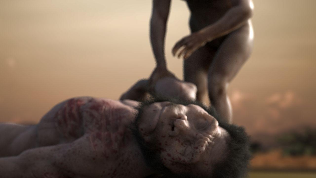 <i>Homo naledi</i>, убитый леопардом. Кадр из мультфильма Сергея Кривоплясова «Homo naledi».