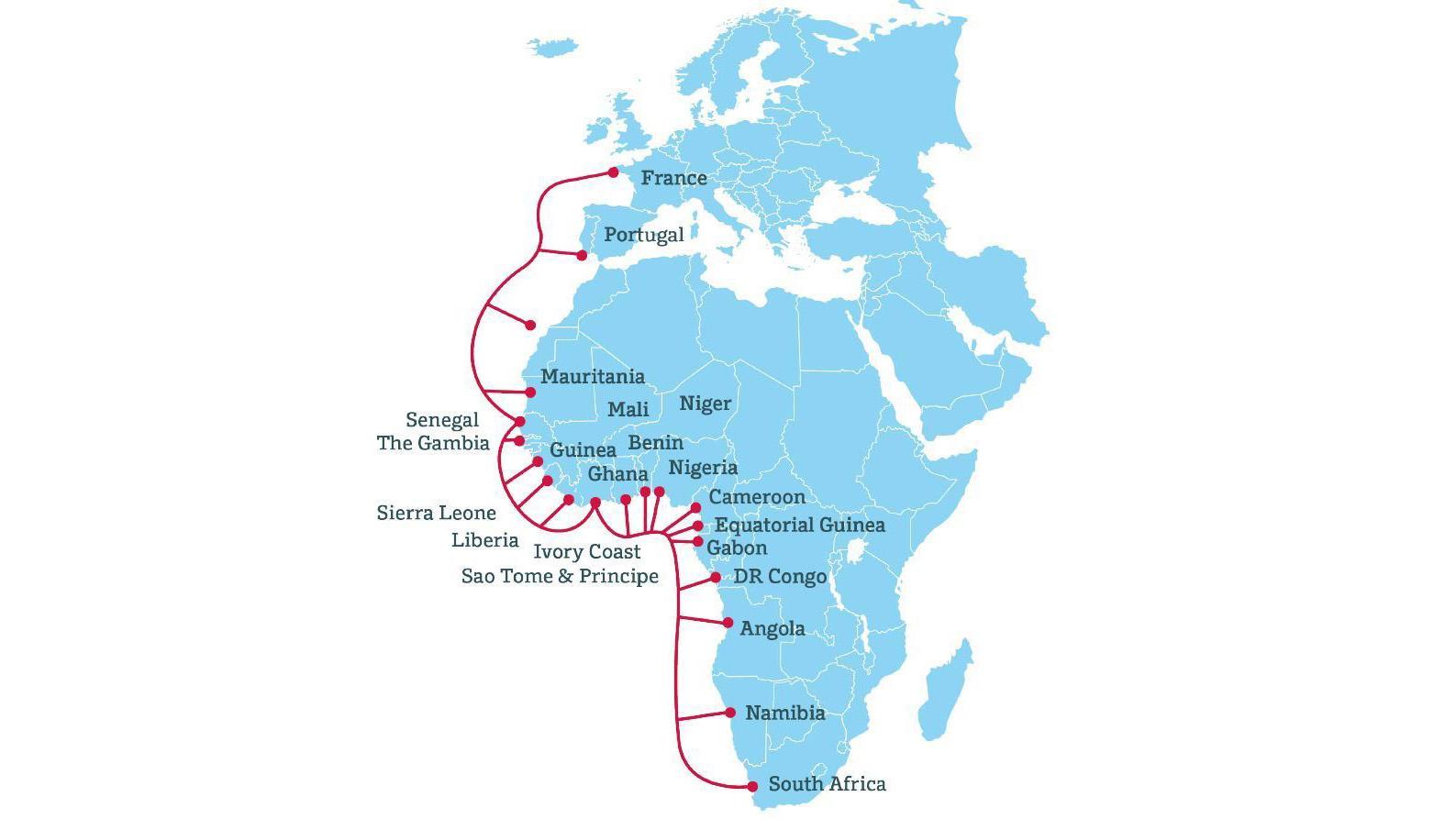 """Карта-схема кабеля <i><abbr title=""""African Coast to Europe"""">ACE</abbr> Submarine Cable</i>, из-за повреждения которого Западная Африка двое суток испытывала сложности сдоступом всеть."""