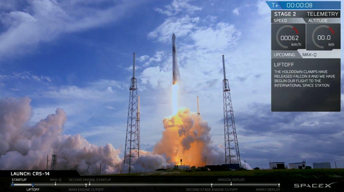 Пуск Falcon 9 врамках миссии CRS-14 || Фото из Twitter SpaceX