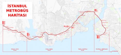 Карта стамбульской выделенной автобусной линии. ВСтамбуле наMetrobus можно добраться свосточной стороны назападную, длина автобусной линии— 50км, наней 45 станций, автобусы приезжают один за другим, так что ждать неприходится. Линия Metrobus хорошо интегрирована втранспортную систему города.