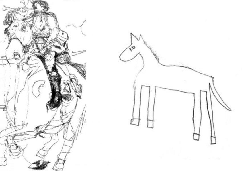 Рисунок лошади, выполненный шестилетней Надей, девочкой саутизмом (слева), ирисунок лошади, сделанный нейротипичным ребёнком того же возраста (справа).