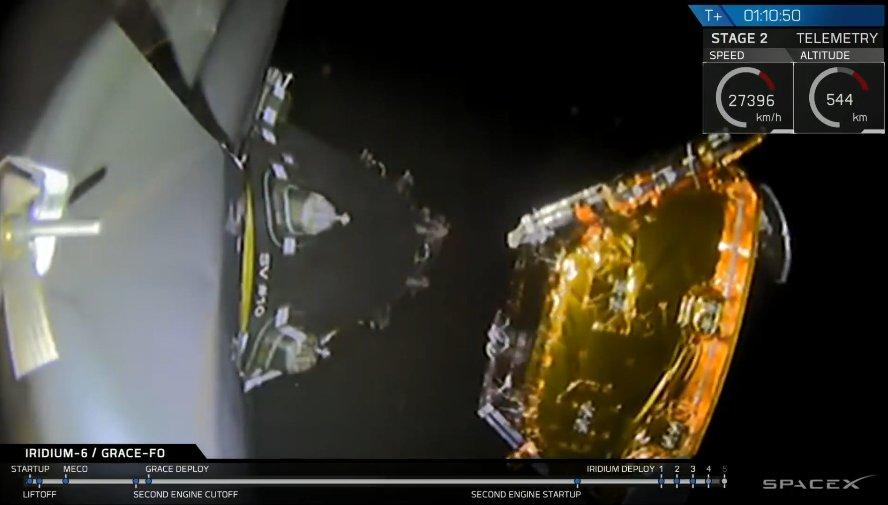 Момент отстыковки спутника Iridium NEXT.