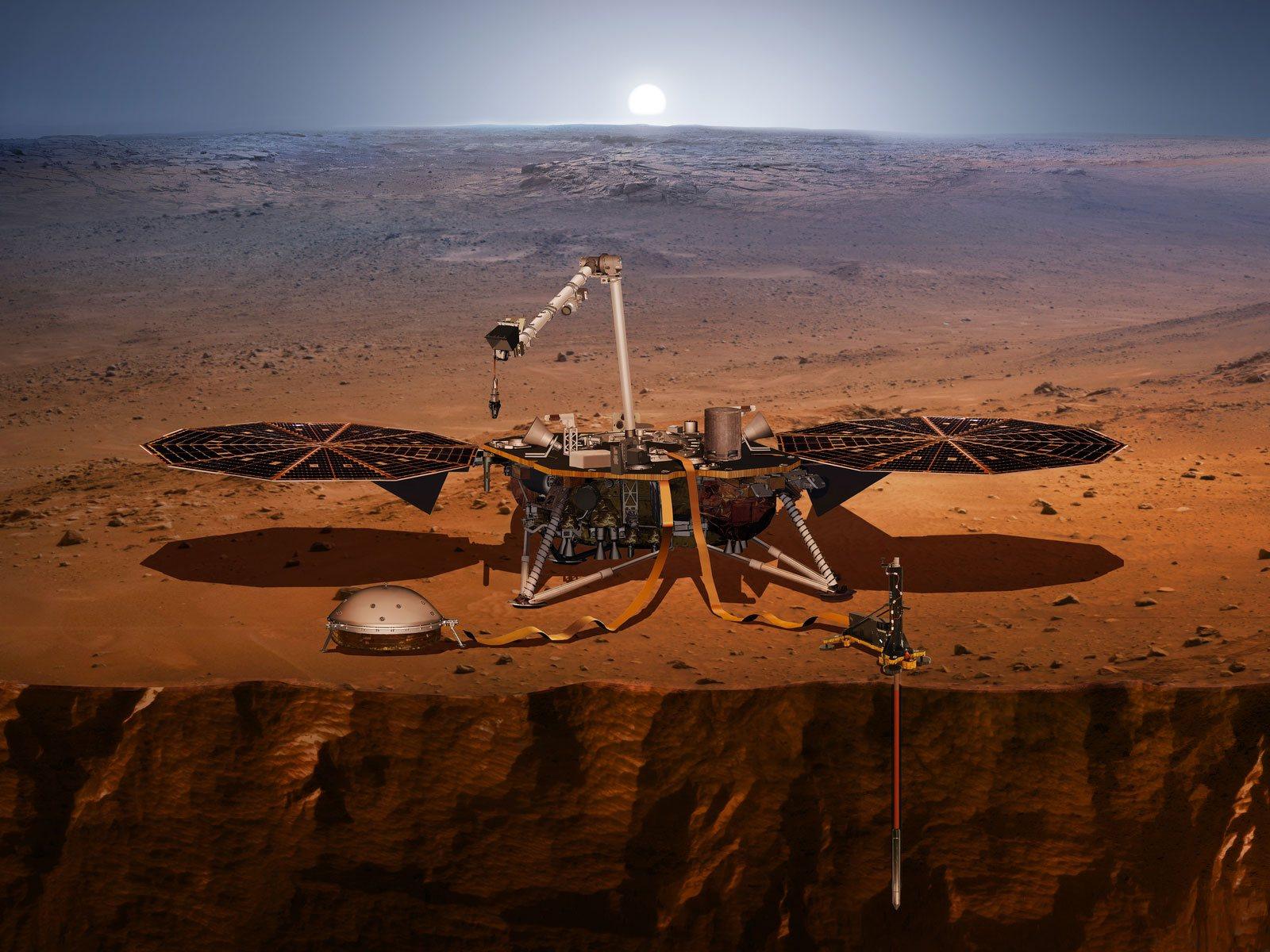 Вот так, впредставлении художника, будет выглядеть аппарат InSight наповерхности Марса. || Фото: mars.nasa.gov