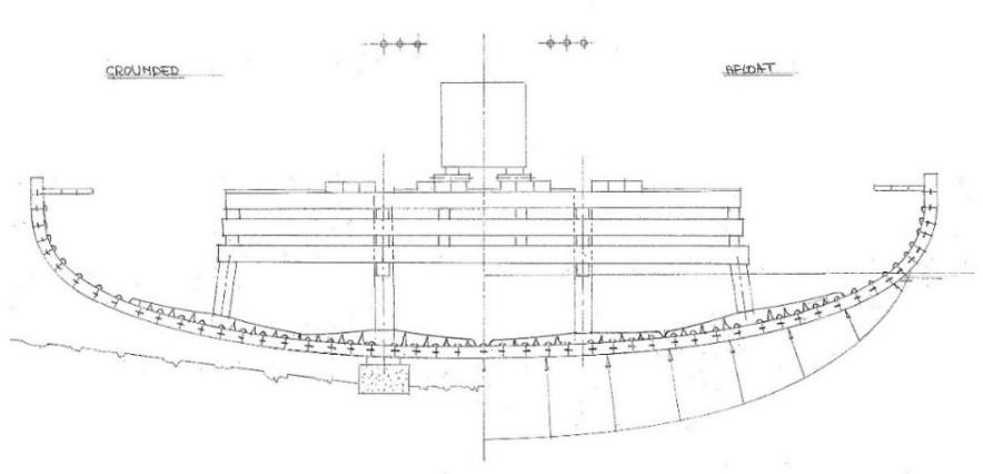Рис. 14. Промежуточный шпангоут (автор). Слева— нагрунте во время погрузки, справа— наплаву