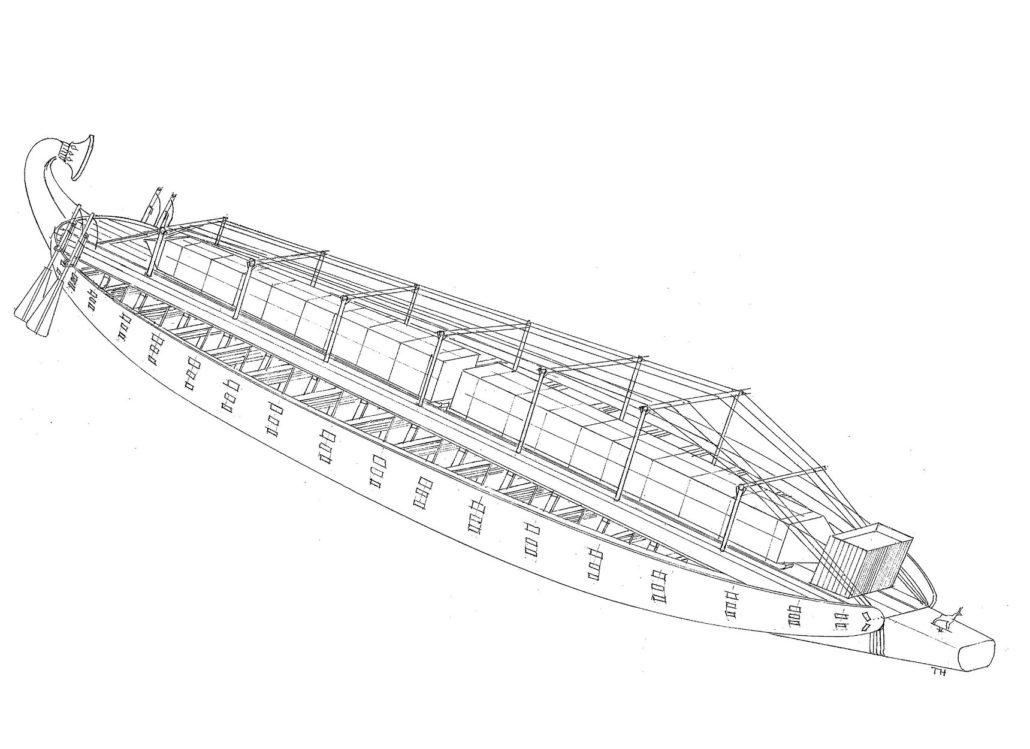 Трёхмерный вид большегрузной речной баржи царицы Хатшепсут.