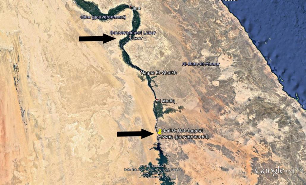 Рис. 3. Участок Нила от Асуана до Луксора (Image©2016 DigitalGlobe)
