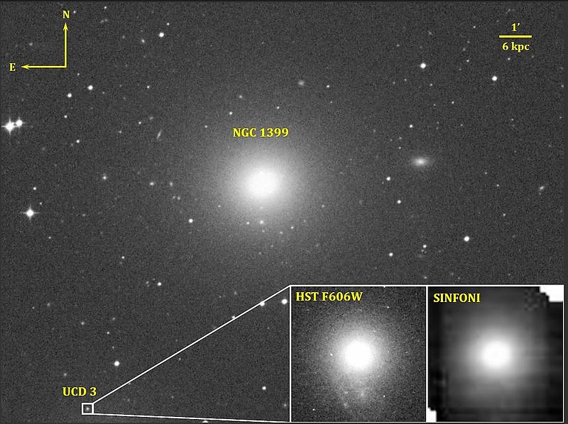 Гигантская эллиптическая галактика NGC 1399 иеё спутник, ультракомпактный карлик UCD3. Левая панель врезки: изображение UCD3 воранжевом фильтре, полученное космическим телескопом «Хаббл». Правая панель врезки: изображение UCD3 винфракрасном диапазоне, полученное наспектрографе <i>SINFONI</i>. || Фото: NASA /STScI/ ESO /Afanasiev et al.