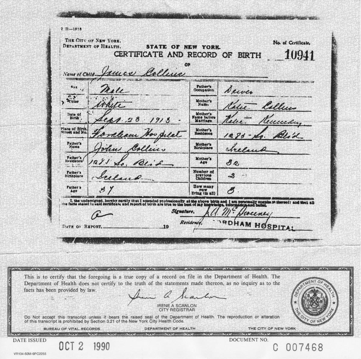Копия свидетельства орождении Джима Коллинза,— номер этого свидетельства отстоит такового Филлипа Бенсона наединицу. Документы подписаны одним итем же врачом. Скорее всего, работа над этими документами велась близко по времени друг кдругу.