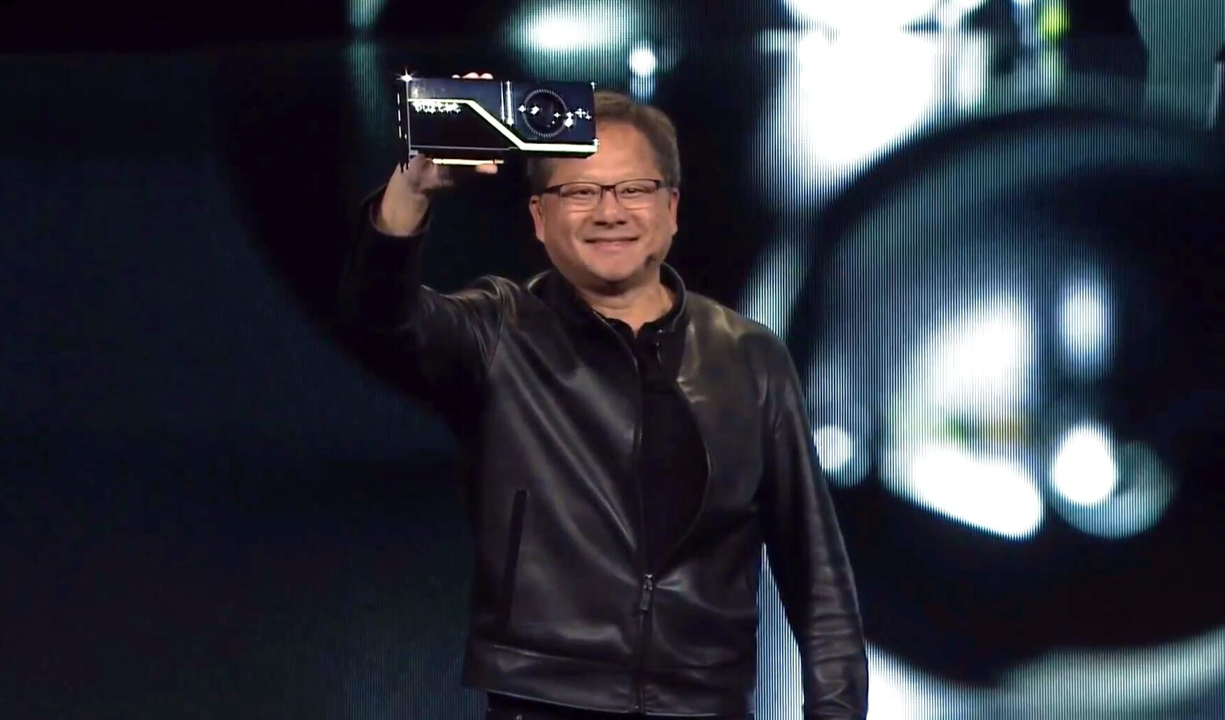 CEO <i>NVIDIA</i> наслаждается игрой света навидеокарте.