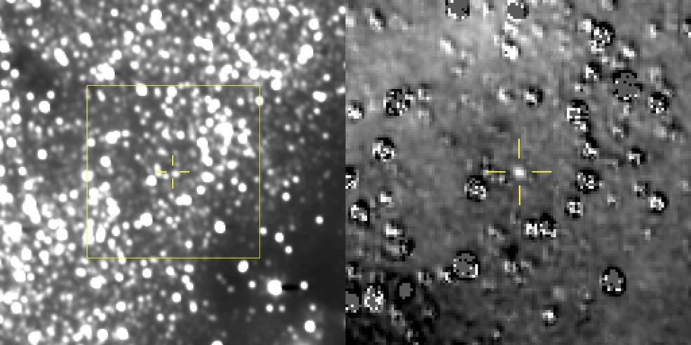 Слева— композитное изображение, полученное из 48 снимков, которые «Новые горизонты» отправил наЗемлю. Ultima Thule находится вжёлтом перекрестье чуть выше илевее звезды, которая в17 раз ярче самого объекта, из-за чего его практически невидно. Изображение справа— увеличенная часть первого снимка после обработки, которая позволила выделить объект нафоне звёзд. || Фото: NASA.