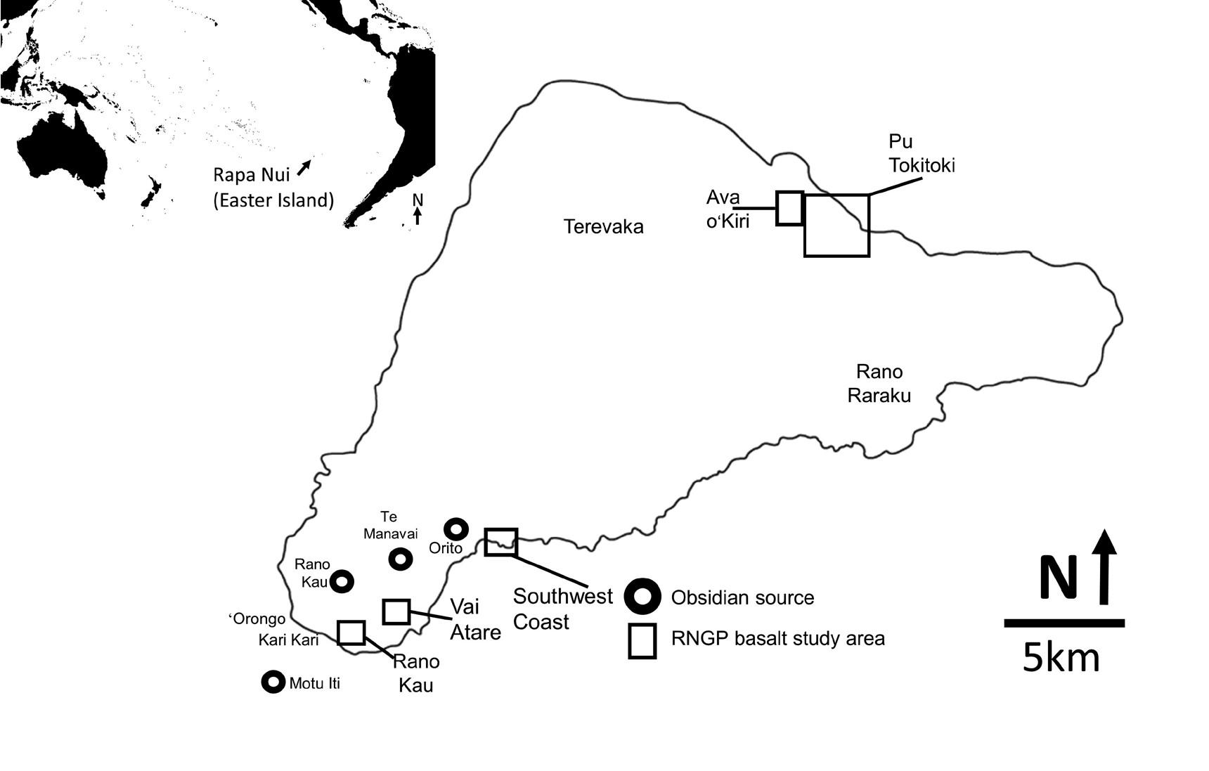 Карта острова Пасхи суказанием местонахождений, упоминающихся встатье.