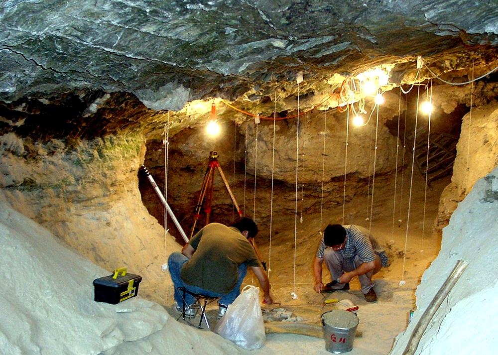 Раскопки вДенисовой пещере наАлтае. Именно здесь были обнаружены останки денисовского человека, отдельной ветви рода Homo.