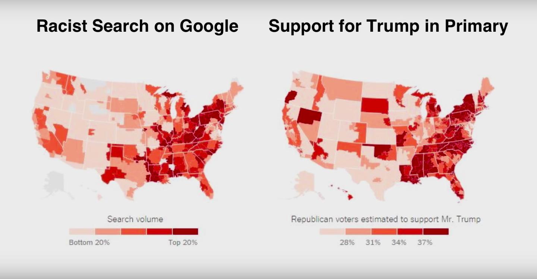 Слева— распределение расистских запросов в<i>Google</i> по штатам. Справа— карта поддержки Трампа во время праймериз. || Фото: слайд из презентации Сета.