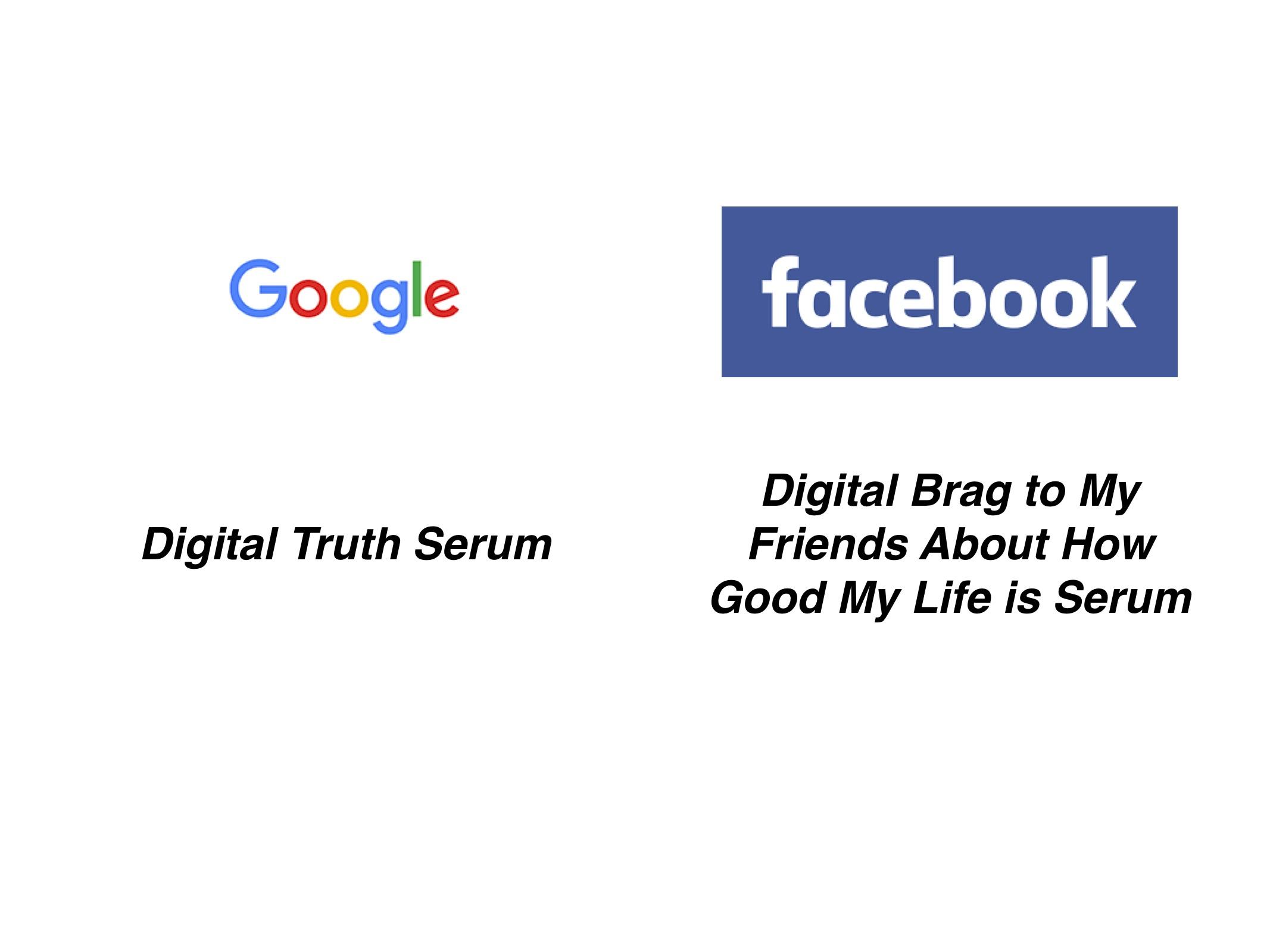 Google— цифровая сыворотка правды. Facebook— цифровая сыворотка «похвастаться-перед-друзьями-что-у-меня-всё-хорошо». || Фото: слайд из презентации Сета.