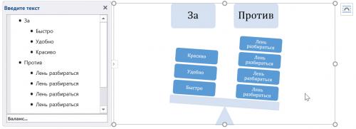 Пример работы сдиаграммой SmartArt