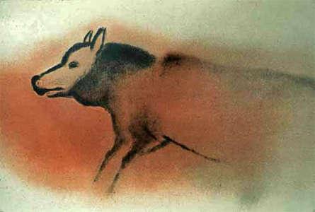 Изображение волка, найденное впещере Фон-де-Гом вместе сдругими наскальными рисунками эпохи позднего палеолита.