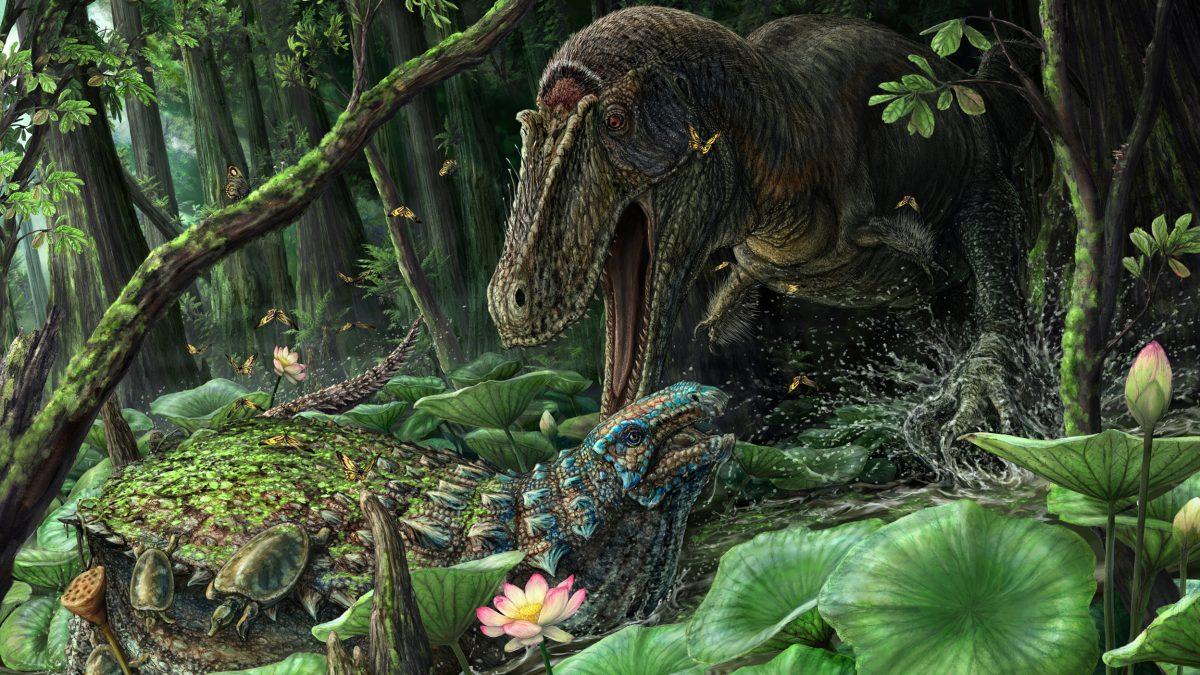 Реконструкция внешнего вида <i>Dynamoterror dynastes</i> (справа).