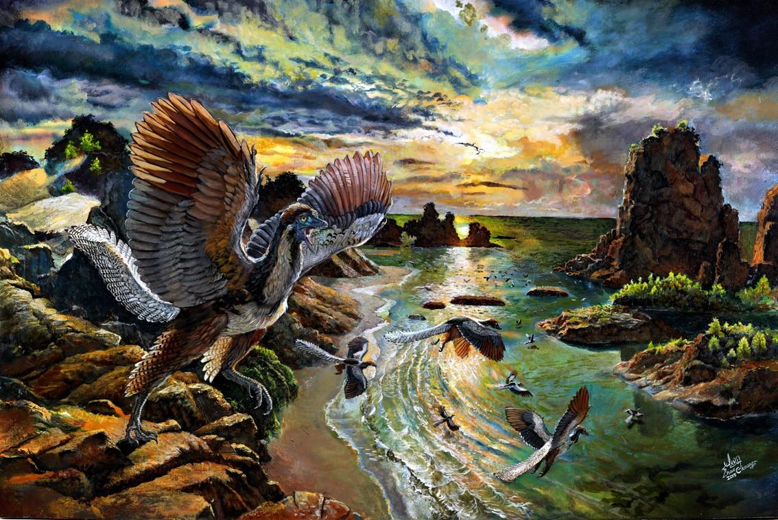 Художественная реконструкция внешнего вида  <i>Archaeopteryx albersdoerferi</i>.