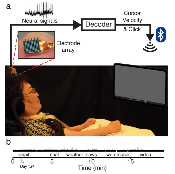 Рисунок 7. Обучение системы управления планшетом спомощью вживлённого микроэлектрода
