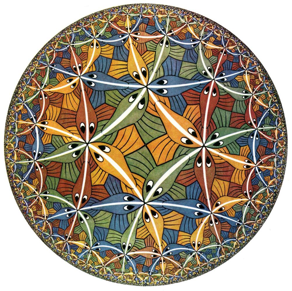 Гравюра «Circle Limit III» М. К. Эшера (1959 год)